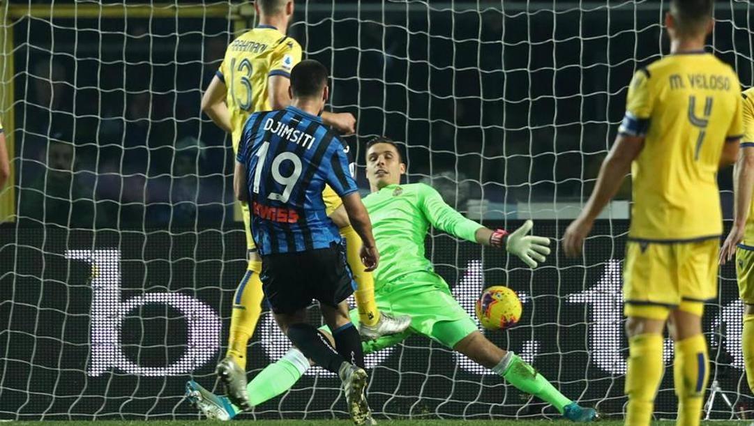 Il gol di Berat Djimsiti contro il Verona. Ansa